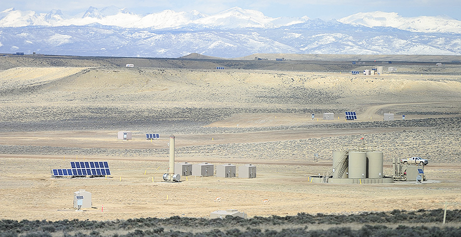 The Jonah Field in Wyoming, pictured, sits on natural gas reserves.  Photo credit: Alex Milan Tracy/Sipa USA/Newscom
