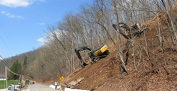 Heavy equipment is working on the right-of-way for the Ohio Valley Connector pipeline in 2016. Photo credit: Bill Hughes/Special to E&E News