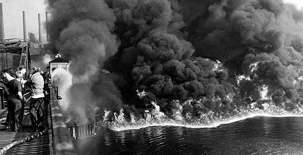 1952 Cuyahoga River fire. Photo credit: James Thomas/Cleveland Press Collection/Cleveland Memory Project/Michael Schwartz Library at Cleveland State University