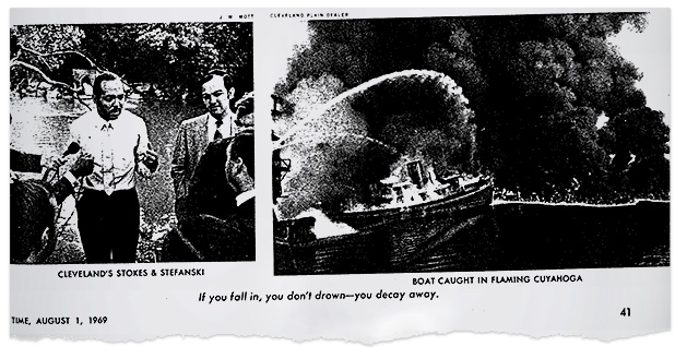 1952 Cuyahoga River fire in TIME magazine. Photo credit: TIME/Special to E&E News