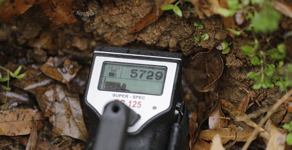 Geiger Counter at Coles Hill Farm in Chatham, Va. Photo credit: Steve Helber/Associated Press