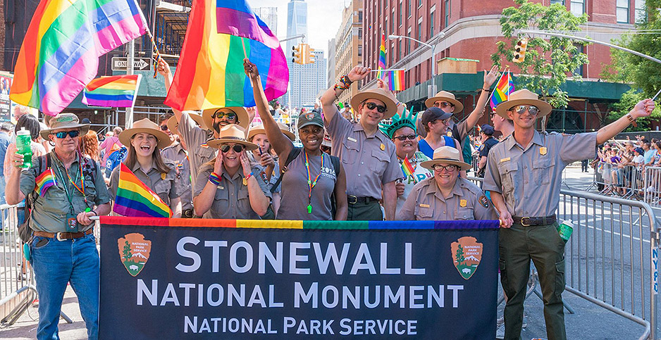 National Park Service employees march in the New York City Pride parade.  Photo Credit: National Park Foundation