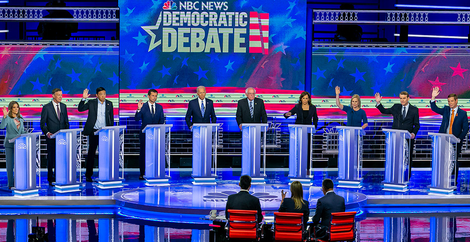 Democratic debate. Photo credit: Al Diaz/TNS/Newscom
