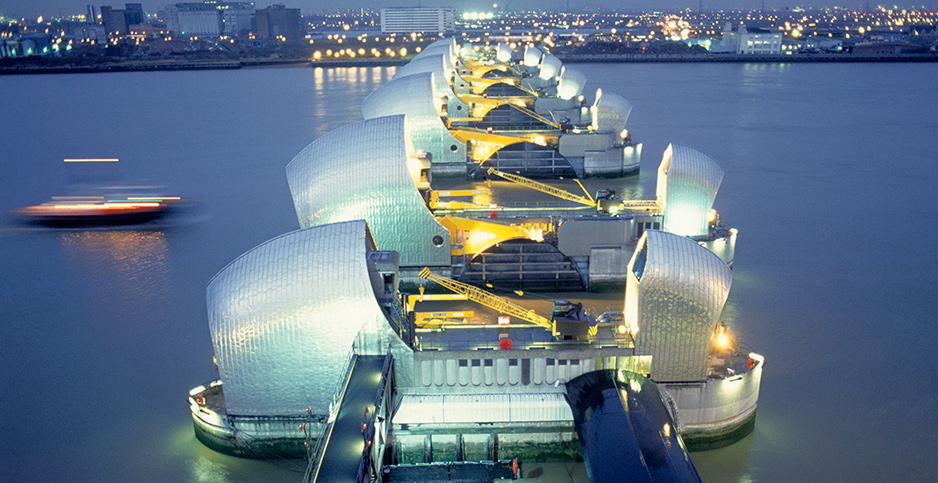 The Thames Barrier in London. Photo credit: Photography/Photosh/Newscom