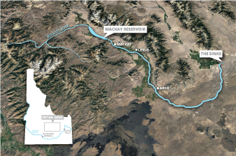 Idaho's Big Lost River. Map credit: Claudine Hellmuth/E&E News (graphic); map data ©2019 Google
