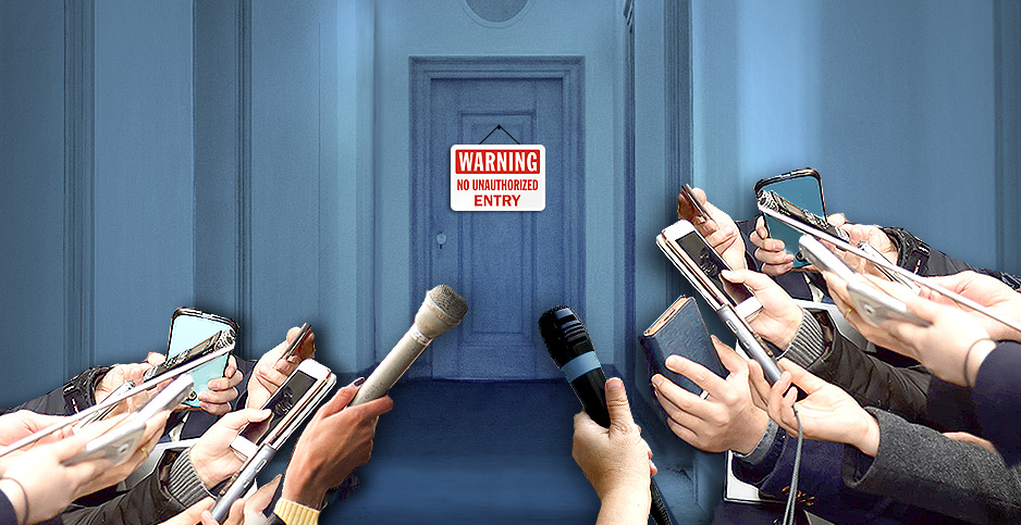 Reporters hands in front of closed door. Credit: Claudine Hellmuth/E&E News (illustration); NeedPix(door);Mr. Tin DC/Flickr and Pixabay (hands with phones and microphones)