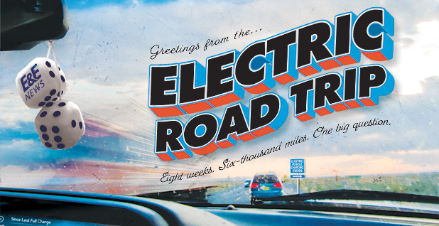 Electric roadtrip postcard illustration. Credits: Claudine Hellmuth/E&E News(illustration); Emlyn Stokes/Flickr(photo);Trav1085/Wikipedia(dice)