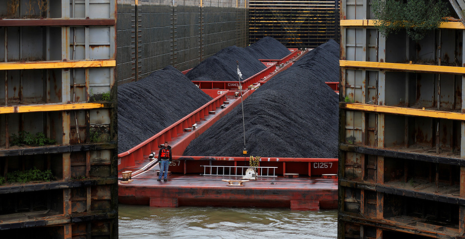 Coal barges. Photo credit: Brian Snyder/Reuters/Newsom