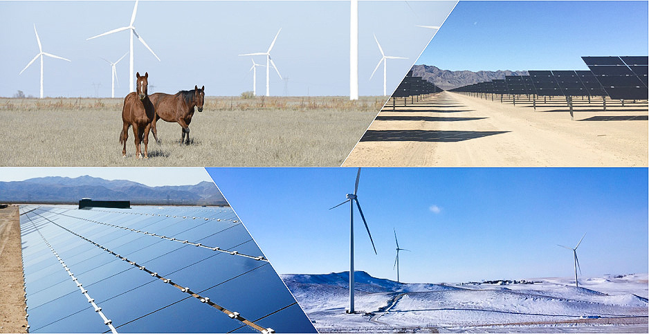 Photo collage of wind turbines and solar panels. Photo credit: NextEra Energy