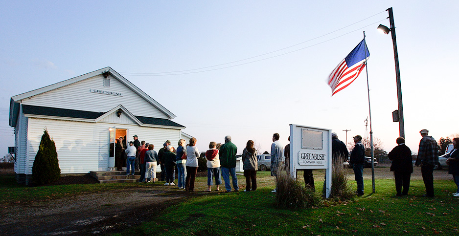 Voters line up in Clinton County, Mich. Photo credit: Dale G. Young/Rapport Press/Newscom