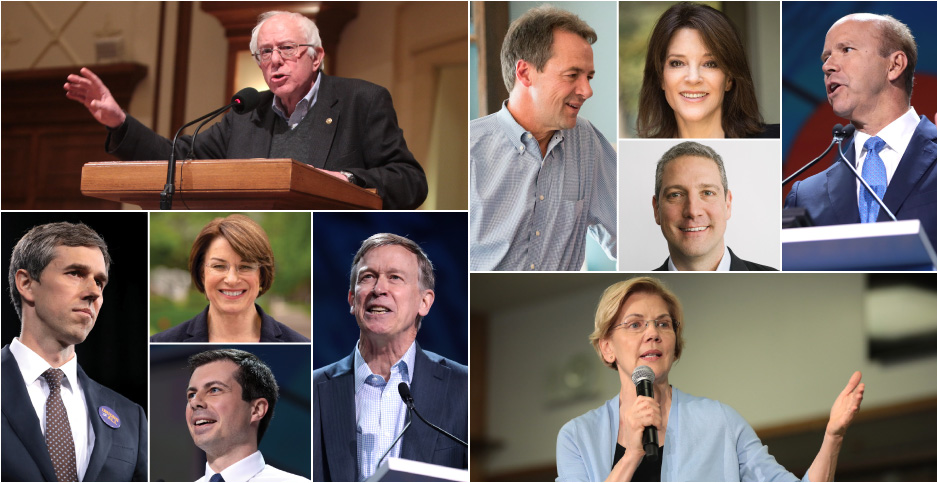 Photo grid of Sander, Bullock, Wimmiamson, Ryan, Delaney, O'Rouke, Klobuchar, Buttiegieg, Hickenlooper, Warren. Credits: Bullock campaign; Ryan/Facebook; @marwilliamson/Twitter; @amyklobuchar/Twitter; Gage Skidmore/Flickr(all others)