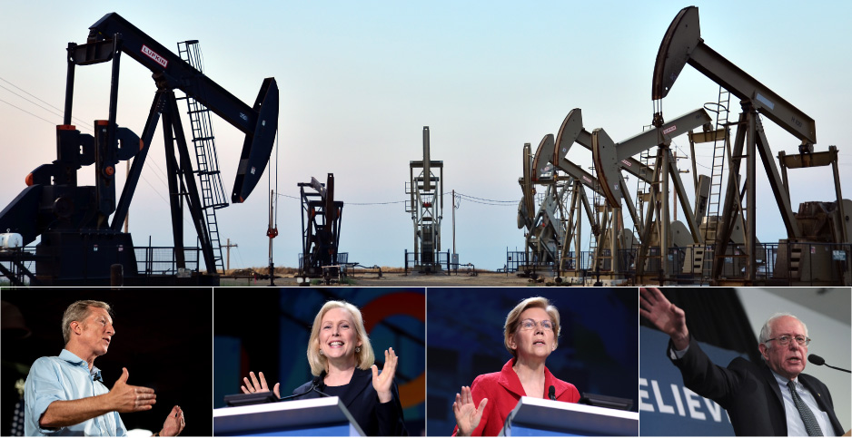 Photo collage of pump jacks and Democratic candidates Tom Steyer, Kirsten Gillibrand, Elizabeth Warren and Bernie Sanders. Photo credits: John Ciccarelli/BLM/Flickr(pumpjacks); Steyer Campaign; Gage Skidmore/Flickr (Gillibrand, Warren, Sanders)