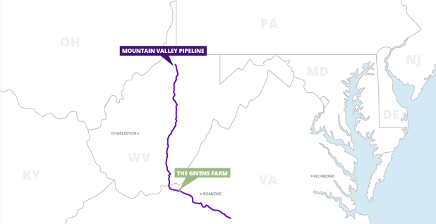 Mountain Valley natural gas pipeline. Map credit: Claudine Hellmuth/E&E News