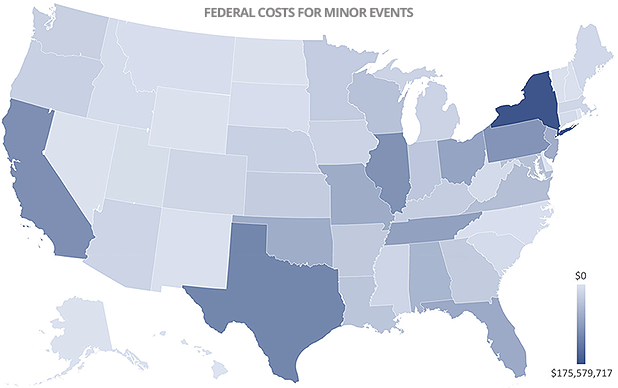 Heat map of FEMA costs for disasters. Data credit: E&E News analysis of Federal Emergency Management Agency records(data)