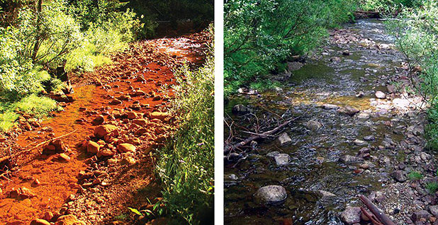 Before and after shots of the restoration of Soda Butte Creek in Montana. Photo credit: OSMRE/Twitter