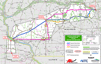 Transmission map. Map credit: American Transmission/ITC Midwest/Dairyland Power