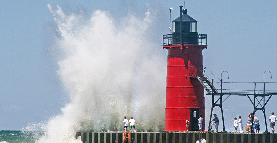 Waves crash against the jetty at South Haven, Mich. Photo credit: Worldwide/Newscom