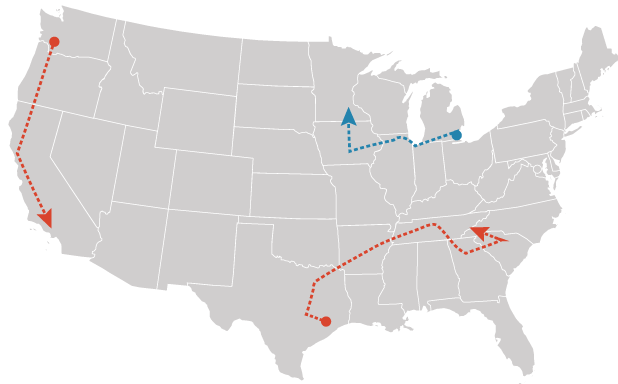 Detroit-Minneapolis route map for EV project. Graphic: Claudine Hellmuth/E&E News