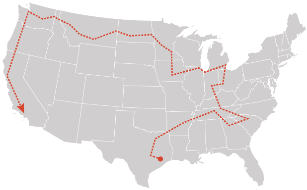 Complete EV project route map. Graphic: Claudine Hellmuth/E&E News