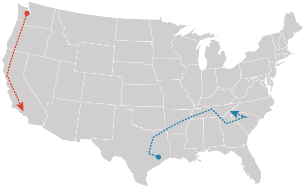 Houston-Nashville route map for EV Project. Graphic: Claudine Hellmuth/E&E News