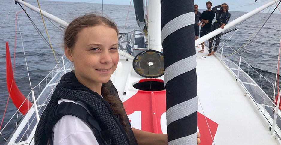 Greta Thunberg on sailboat. Photo credit: @GretaThunberg/Twitter