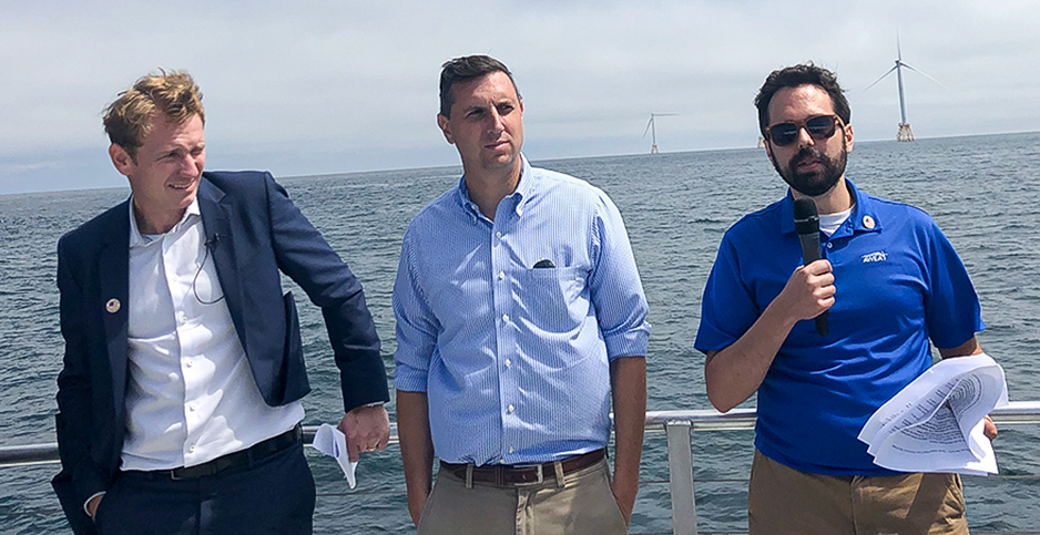 Offshore wind officials during a tour of the Block Island wind farm. Photo credit: Benjamin Storrow/E&E News