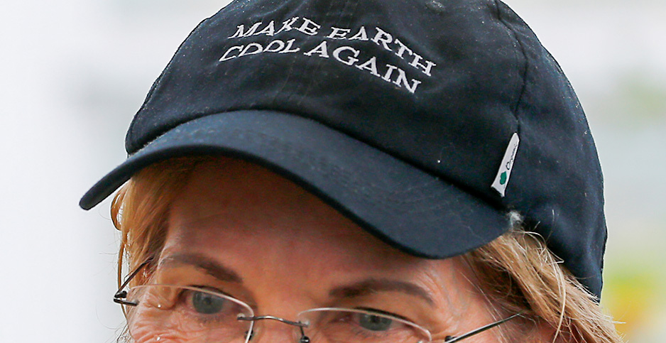 Sen. Elizabeth Warren in a 'Make Earth Cool Again' hat. Photo credit: Brian Snyder/REUTERS/Newscom