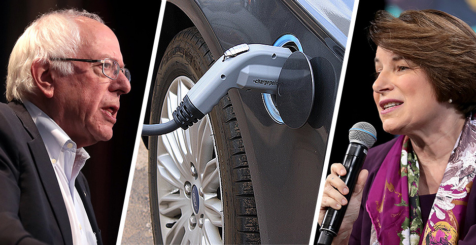 Photo collage with Bernie Sanders and Amy Klobuchar and EV charger. Photo credits: Gage Skidmore/Flickr(Sanders and Klobuchar); Noya Fields/Flickr(EV charger)