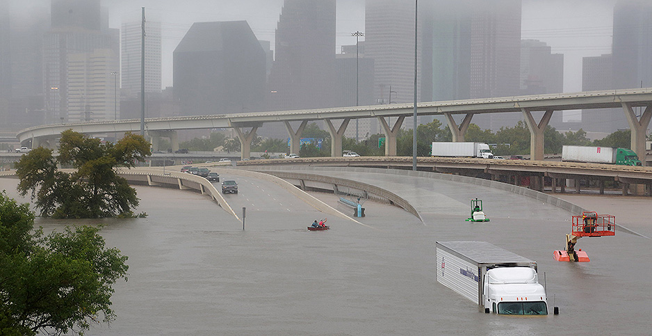 Downtown Houston is submerged after Hurricane Harvey. Photo credit: Richard Carson/REUTERS/Newscom
