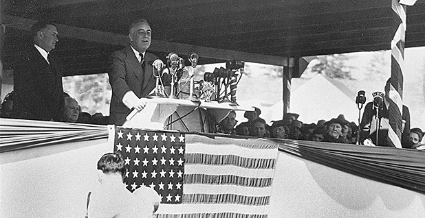 President Franklin Delano Roosevelt dedicates Bonneville Dam in 1937. Photo credit:  Bonneville Power/Flickr