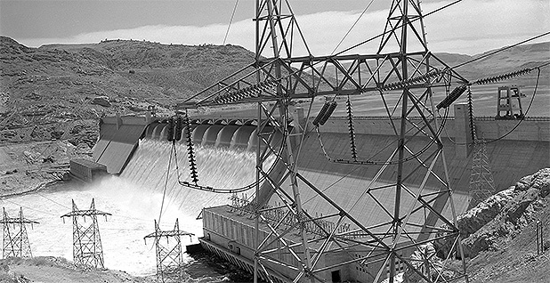 Historic photo of the Grand Coulee Dam on the Columbia River.  Photo credit:  @bonnevillepower/Twitter