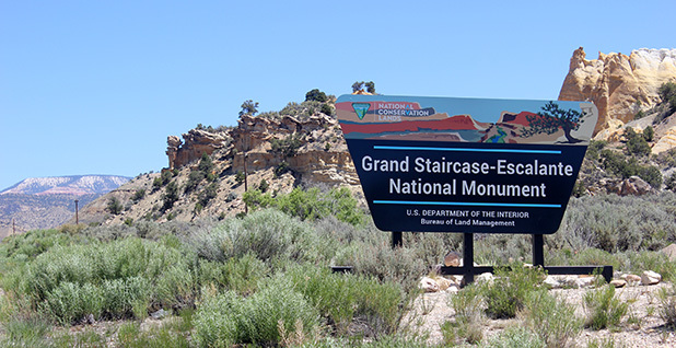 Grand Staircase-Escalante National Monument sign. Photo credit: Phil Taylor/File/E&E News