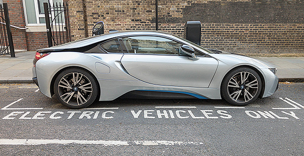 An electric vehicle parked on a road. Photo credit: Marco Verch/Flickr
