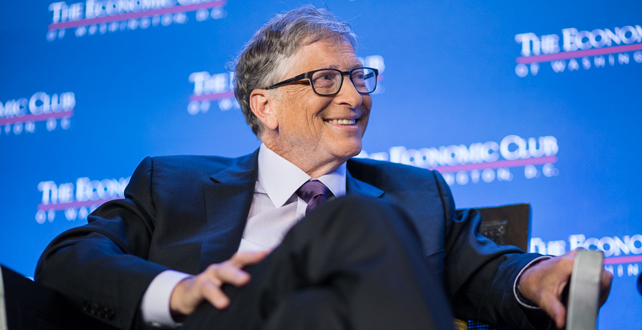 Microsoft co-founder Bill Gates speaking at the Economic Club of Washington yesterday. Photo credit: Francis Chung/E&E News