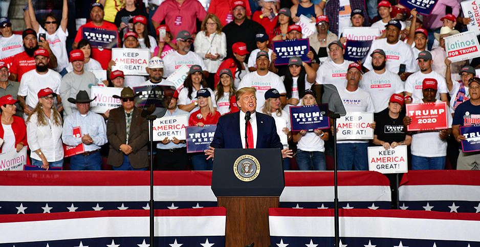 President Trump speaks at campaign rally. Photo credit: Justin Hamel/UPI/Newscom