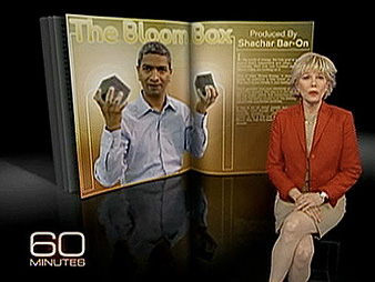 """60 Minutes"" Correspondent Lesley Stahl introducing a 2010 segment on Bloom Energy. Photo credit: CBS"