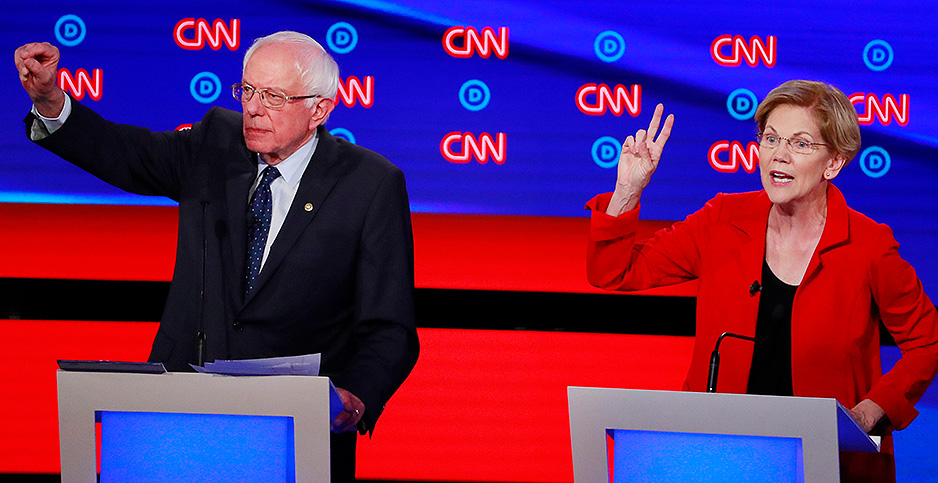 Sens. Bernie Sanders (I-Vt.) and Elizabeth Warren (D-Mass.). Photo credit: Lucas Jackson/Reuters/Newscom