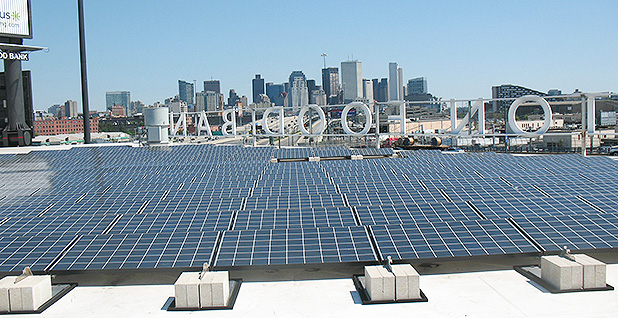 Solar panels atop the Greater Boston Food Bank. Credit: Massachusetts Office of Energy and Environmental Affairs/Flickr