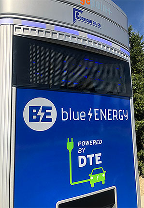 DTE car charger closeup. Photo credit: Jeffrey Tomich/E&E News