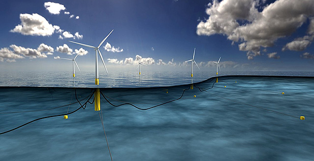 A visual representation of a floating offshore wind farm. Image credit: Equinor