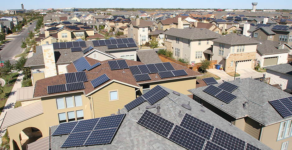 "Solar panels in Austin, Texas, are being strung together to form a ""microgrid.""  Photo credit: Austin Energy"