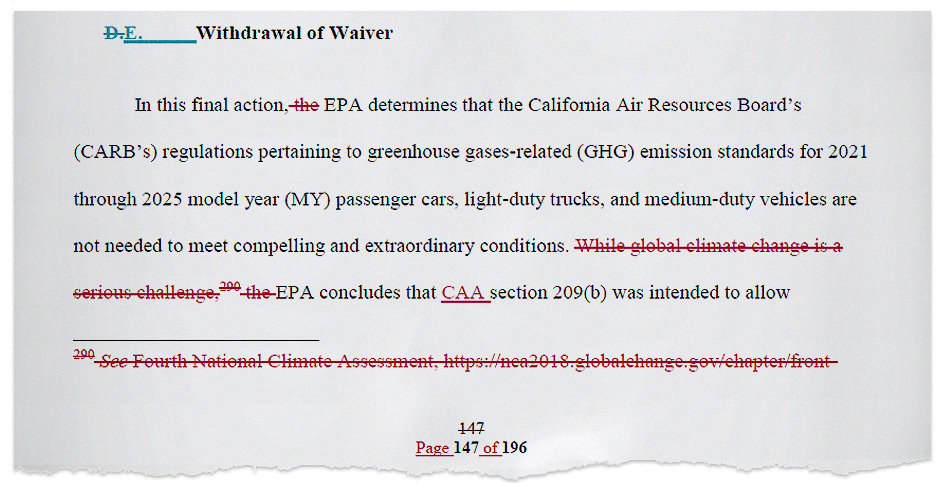 Deleted text in White House document. in Image credit: Regulations.gov (document)