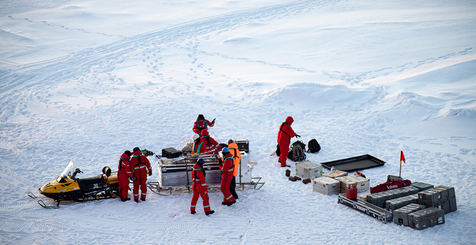 Researchers on an Arctic ice floe. Photo credit: Chelsea Harvey/E&E News