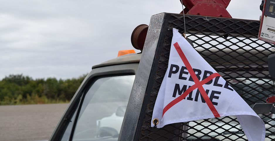 Anti-Pebble mine flag. Photo credit: Dylan Brown/E&E News