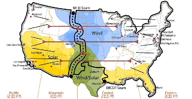 wind and solar power map. Image credit: National Renewable Energy Laboratory
