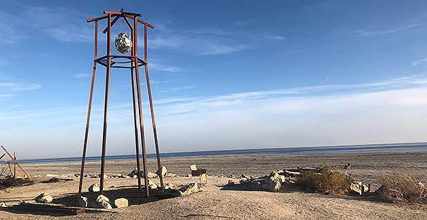 Sculpture in shoreline town of Bombay Beach. Photo credit: David Ferris/E&E News