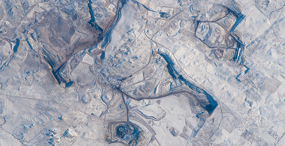Several mines are pictured from the International Space Station. Photo credit: NASA