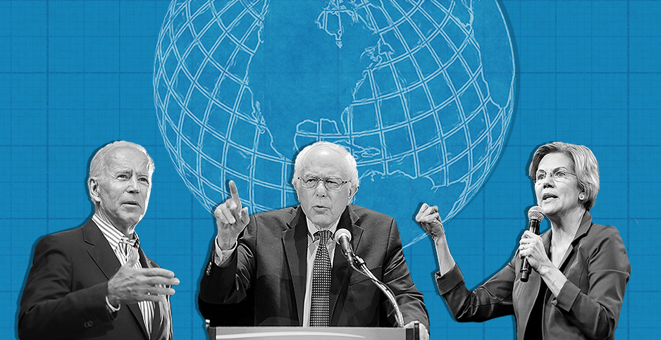Illustration with Biden,Sanders,Warren and globe. Credits: Claudine Hellmuth/E&E News(illustration); Gage Skidmore/Flickr(Biden,Warren); Michael Vadon/Flickr(Sanders); Pete linforth/Pixabay(globe)