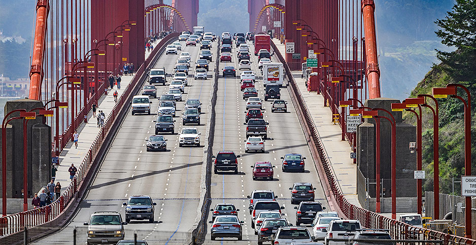 Traffic on San Francisco's Golden Gate Bridge. Photo credit: Diana Robinson/ Flickr.