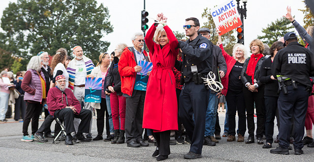 Jane Fonda is arrested last month for protesting against political inaction on climate change. Photo credit: Francis Chung/E&E News